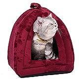 OHANA Cama para Mascotas pequeñas con Forma de iglú y con Huellas Impresas, Lavable y Suave 40 x 32 x 32 cm