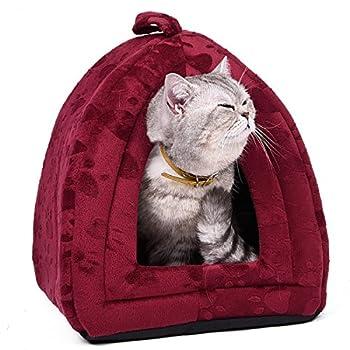 OHANA Maison Niche pour Chien Chat avec Coussin Amovible, Dôme Chat Pliable et Confortable 40 * 32 * 32cm Rouge