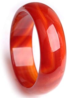 سوار اليشم، أساور للنساء، سوار العقيق الأحمر الطبيعي، واسع وسميك، نمط أنيق، تعزيز سحر الأنثوى، 56-58mm