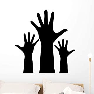 Wallmonkeys Raised Hands Silhouette Wall Decal Peel and Stick Educational Graphics (36 in H x 36 in W) WM369067