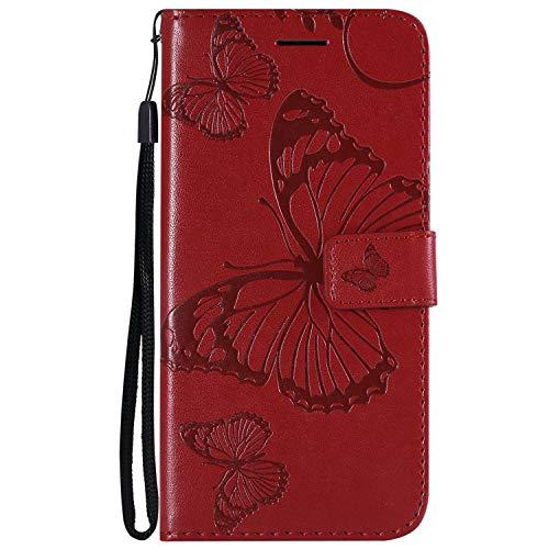 DENDICO Cover Xiaomi Mi A2 Lite/Redmi 6 PRO, Pelle Portafoglio Custodia per Xiaomi Mi A2 Lite/Redmi 6 PRO Custodia a Libro con Funzione di appoggio e Porta Carte di Credito - Rosso