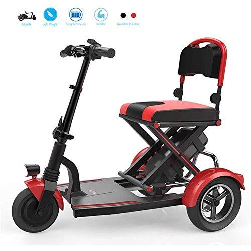 J&Z Mayores Mini eléctrica Plegable eléctrico de Tres Ruedas Silla de Ruedas Personas con discapacidad de los hogares de Motor sin escobillas Vespa batería de Litio Iluminado