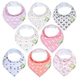 Baberos para bebé tipo bandolera para niñas - Baberos tipo pañuelo, de algodón orgánico súper absorbente - Babero para baba de bebé - Baberos para dentición (Pink Dreams)
