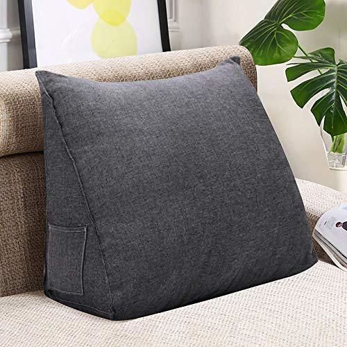 VERCART Rückenkissen Kopfkissen Rückenstütze keilkissen für Bett Sofa TV Kissen Polster Leinen Grau 45x35x20cm