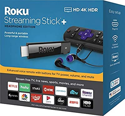 Roku - Streaming Stick+ 4K Headphone Edition with Voice Remote with TV Power and Volume Streaming Media Player