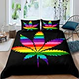 Rainbow Weed Comforter Cover Colorful Marijuana Weed Leaf Printed Bedding Set Queen Size Adult Women Boys Rainbow Cannabis Leaves Decor Duvet Cover Gothic Nature Plant Weed Printed Bedspread, Zipper