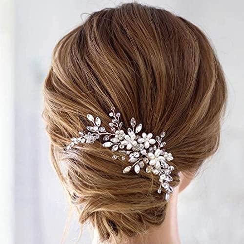 Prosy - Pettine per capelli da sposa con fiore in argento, accessorio per capelli con strass floreali, per donne e ragazze