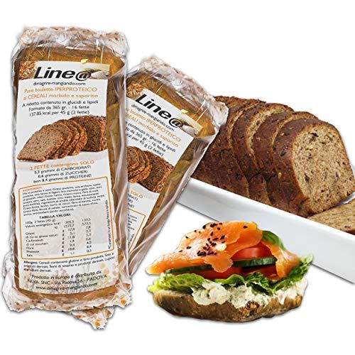PANE BAULETTO ai CEREALI PROTEICO LINE@, DUE confezioni, alto contenuto di proteine, low carb, ipocalorico, senza zuccheri, per la FASE 1 della dieta (2 confezioni)