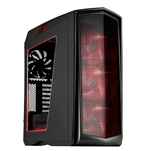 SilverStone SST-PM01CR-W - Primera ATX Gaming Tower Gehäuse, hochleistungsfähiges Kühlsystem, mit Fenster und roten LED, matt-schwarz