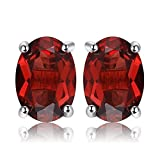 JewelryPalace Pendientes 2ct Genuino Granate Rojo Oval Natural Piedra de...