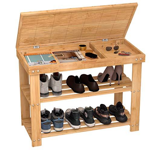 Sitzbank-Schuhregal-Schuhbank-Schuhablage-Holz mit Stauraum 3 Ablagen aus Bambus Natur