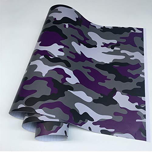 TSAUTOP Newest 11 Arten 7 Größen Schwarz Camo Vinyl Film Camouflage Auto Wrap Film zum Auto Styling Fahrrad Computer Laptop Roller Motorrad Vinylfilm (Color Name : Purple, Size : 50cmx150cm)