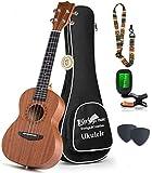 Concert Ukulele Mahogany - 23 inch Professional Wooden Ukulele Free Online Lessons Uke Strap Case Digital Tuner Picks Aquila String