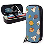 Dibujos animados comida pizza hamburguesa pierna tocino pescado 156 pu cuero caja de lápices bolsa de bolígrafos alta capacidad doble cremallera bolsa de maquillaje bolsa de monedas