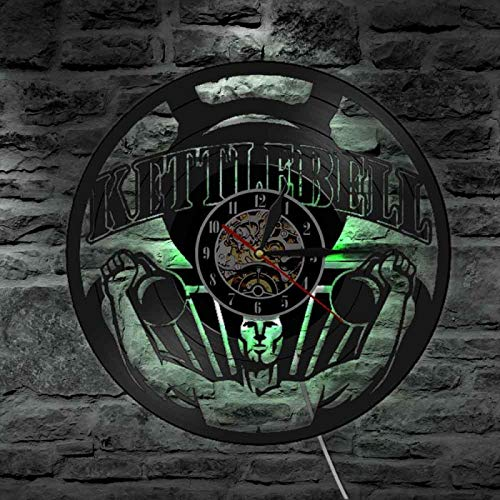 YINU Levantamiento de Pesas Culturismo Kettlebell Gym Signo Reloj de Pared Entrenamiento Reloj de Pared con Registro de Vinilo Ejercicio Reloj de Pared Inspirador Regalo