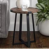 Walker Edison Furniture Rustic Farmhouse Round Metal Side End Accent Table Living Room, 18 Inch, Walnut Brown