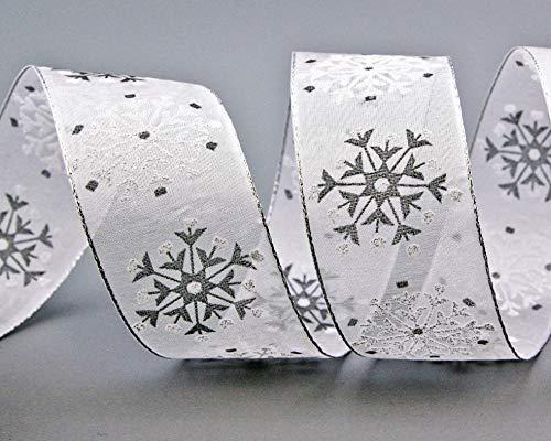 finemark 3 m x 40 mm Dekoband Snow Wonder Weiss Silber Geschenkband Schneeflocken Chiffonband mit Draht Lurex Schleifenband glänzend Winter Weihnachten