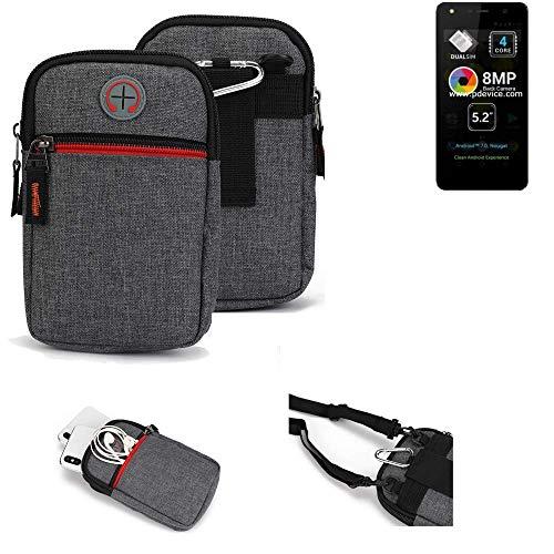 K-S-Trade® Gürtel-Tasche Für Allview A9 Lite Handy-Tasche Schutz-hülle Grau Zusatzfächer 1x