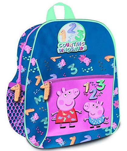 Peppa Pig Mochila Mediana 32cm contando dinosaurus Tiempo Libre y Sportwear Infantil, Juventud Unisex, Multicolor (Multicolor), 32 cm