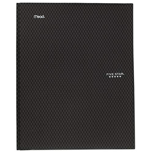 """Five Star 2-Pocket Folder, Stay-Put Folder, Plastic Colored Folders with Pockets & Prong Fasteners for 3-Ring Binders, Great for Home School Supplies & Home Office, 11"""" x 8-1/2, Black (72113)"""