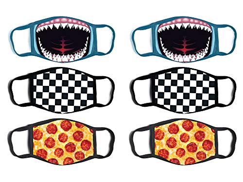 ABG Accessories Boys' Reusable Protective Fashion Face Masks (6 Pack), Shark Mouth/Pizza, Size Age 4-14'
