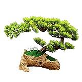 ROM Árbol de bonsái Artificial Ciprés Bonsai en raíz Tallado Base emular simulación Árbol Artificial Decorativo Plantas Falsas Cerámica Blanca Escultura de Caballo Adornos Es