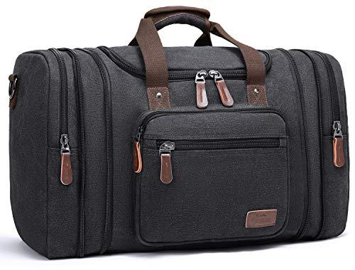 60L Canvas Reisetaschen, Fresion Großräumige Handtasche Schultertasch Herren Weekender Sporttasche Damen Reisetasche mit 2 Seiten Taschen für Erweiterungen Schwarz