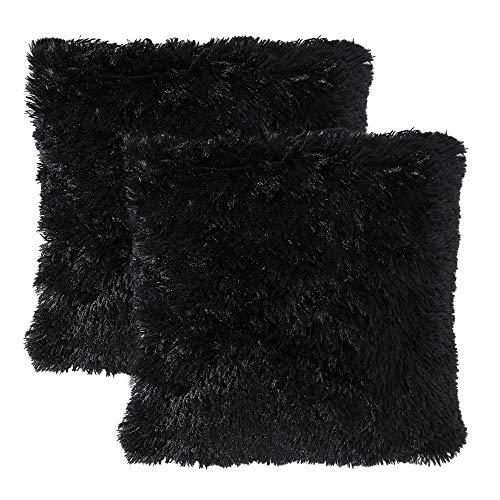 MIULEE Juego de 2 Cojines Protectores Faux Fur Throw Funda de cojín Deluxe Home Decorativo Cuadrados y Suaves Cojines PeloPara la Hogar Sofá Cama del Coche 18'x18'Inch 45x45cm Negro