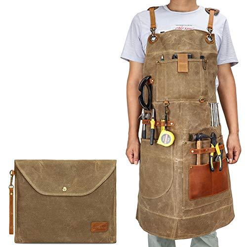 Woodworking Shop - Delantal de trabajo de lona encerada para hombres y mujeres con bolsillo y correas acolchadas, hebilla de liberación rápida, delantal de herramientas ajustable hasta XXL
