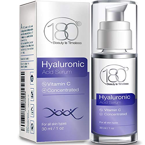 Hyaluronic Acid Serum for Face by 180 Cosmetics  Strong for Age 30 w/ 3 Layers of HA and Vitamins For Toned Radiant Plumped and Hydrated Skin with Visibly Diminished Fine Lines and Wrinkles  1 oz
