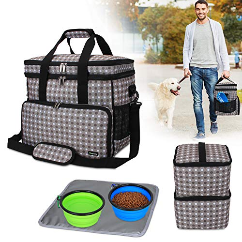 Teamoy Double Layer Dog Travel Bag with 2 Silicone Collapsible Bowls, 2 Food Carriers, 1 Water-Resistant Placemat, Pet Supplies Weekend Tote Organizer (Large, Gray Dots)