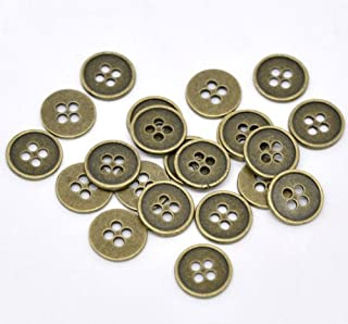Set of 9 Vintage Brushed Steel Metal  Buttons 78 Inch Sewing Buttons Craft Buttons