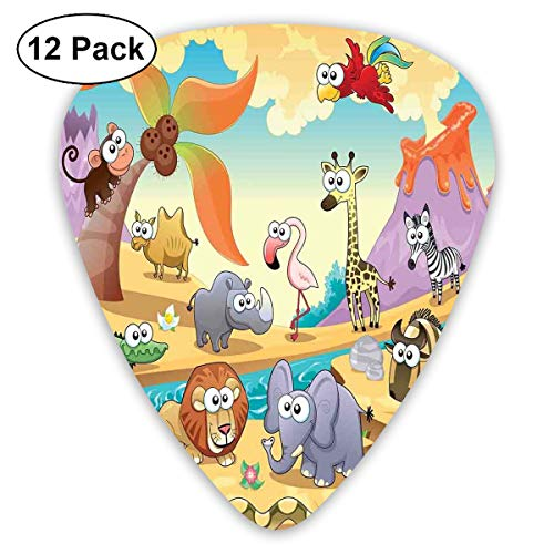 Guitar Picks12pcs Plectrum (0.46mm-0.96mm), Savannah Animal Family With Volcanos Mammals Nature Beasts Hippo Camel Sketch Design,For Your Guitar or Ukulele