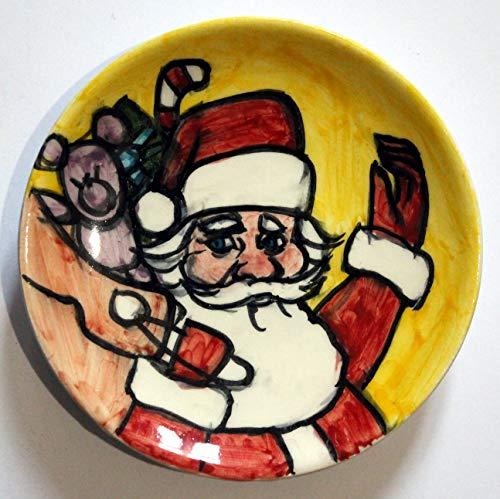 Weihnachtsmann-Handverzierte Keramikplatte Cm im Durchmesser 11,7.MADE IN ITALY Toscana Lucca, Zertifikat.