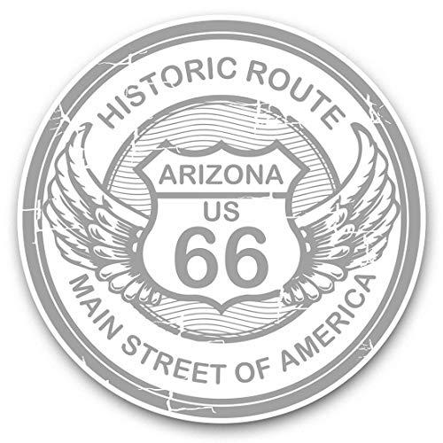 Adesivi in vinile impressionante (set di 2) 20 cm (bw) – Arizona Route 66 Tour America USA divertenti decalcomanie per computer portatili, tablet, bagagli, prenotazione di rottami, frigoriferi, regalo cool #40303
