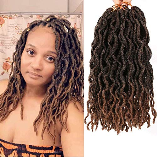 LEEONS 6Packs/Lot 12'' Boho Locs Wavy Faux Locs Crochet Synthetic Braiding Hair Pre-loop Crochet Braids Soft Curly Faux Locs Hair Extensions Braids Dreadlocks 20Roots/PCS(12inch,#T-30)