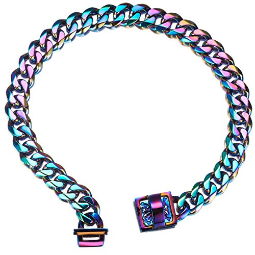 Abaxaca 19 mm Dog Collar Rainbow Heavy Duty Stainless Steel Dog Colorful Luxury Training Collar Cuban Link with Durable Clasp Necklace Chain (16inch(for 13.6'~15.5' Neck))