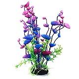 U/K Planta de plástico artificial para acuario de Pulabo, hoja larga, agua verde, decoración lila, alta calidad, práctica