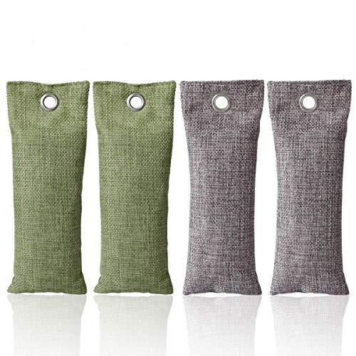 CETECK Lot de 4 sacs purifiants d'air en charbon de bambou 75 g Éliminateurs d'odeurs de charbon actif purificateur d'air pour cuisine, réfrigérateur, salle de bain, voiture, chaussures–réutilisables