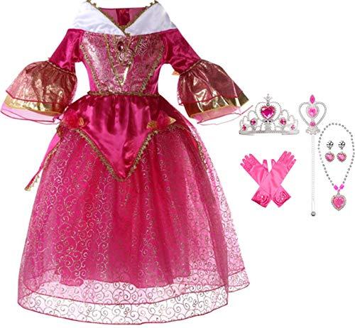 IWFREE Mädchen Kostüme Prinzessin Aurora Dornröschen Verkleidung Faschingskostüm Karneval...