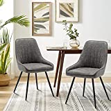 Alunaune Upholstered Dining Chairs Set of 2 Modern Faux Leather Armless Accent Chairs Mid Century Leisure Chair Kitchen Living Room Desk Side Chair with Metal Legs-Grey