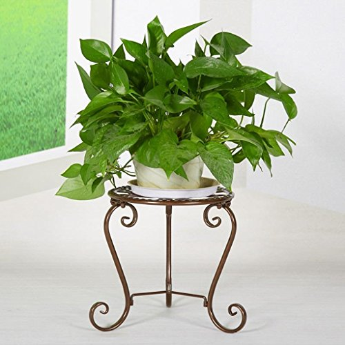 Yxsd Stand de Fleurs en Fer forgé Balcon Pot de Fleurs Plateau Intérieur Chambre Salon Single Layer Plant Stand (Couleur : Bronze)