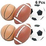 NUOLUX 6 Pcs Mini Boules de Sport Maternelle Enfants Gonflable Basket-Ball de Football Rugby Plage Aire de Jeux Balles Jouets pour Partie de Jeu en Plein Air