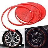 8m / roll auto veicolo a colori ruote rottelli protettori Decor Strip Pneumatici Guardel Line Gomma Stampaggio Trim Sigillanti per cerchioni (Color : Red)