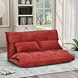 Floor Sofa Adjustable Lazy Sofa Bed, Foldable Mattress Futon Couch Bed with 2 Pollows (Red)