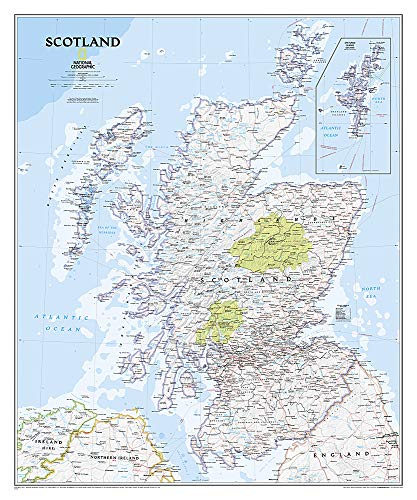 National Geographic: Scotland Classic Wall Map - Laminated (30 x 36 inches) (National Geographic Reference Map)
