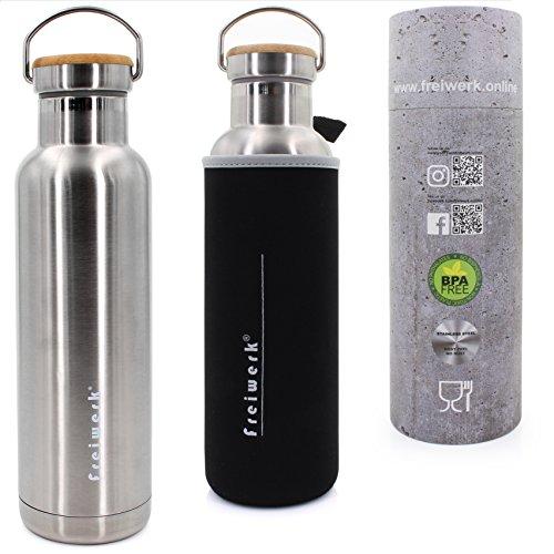 freiwerk® Retro Thermo Edelstahl Outdoor Flasche 600ml Doppelwandig Bambus Deckel Neopren Überzug