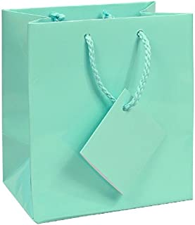 10 pcs Tiny Fancy Robin's Egg Blue Glossy Finish Shopping Paper Gift Sales Tote Bags with Blank Message Tag 3