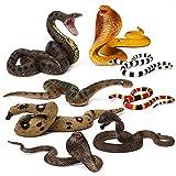 8pcs Snake Figurines Realistic Snake Prank Props Scary Snake Toy Scare Birds, Cobra Snake, Boa Constrictor, Coral Snake, Rattlesnake Wilde Life Figures