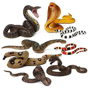 8pcs Snake Figurines Realistic Snake Prank Props Scary Snake Toy Scare Birds Cobra Snake Boa Constrictor Coral Snake Rattlesnake Wilde Life Figures